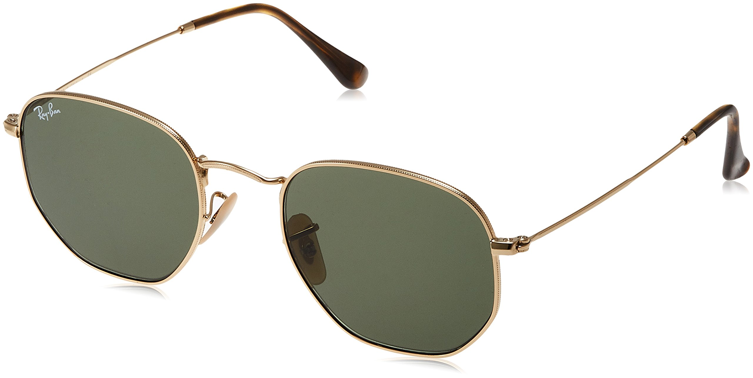 Ray-Ban Unisex RB3548N Hexagonal Sunglasses - Gold Frame Green Lenses, 51 mm