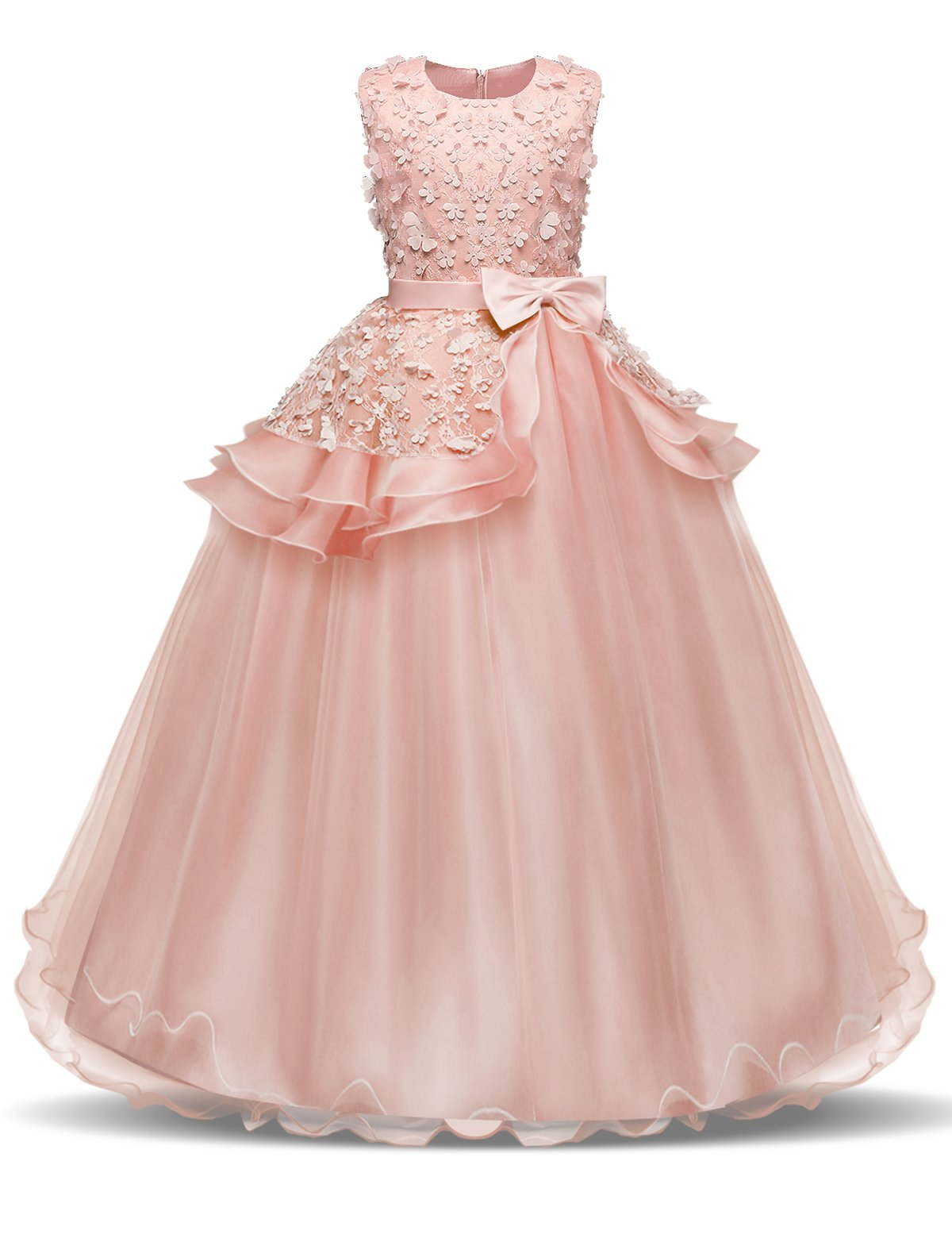 NNJXD Girl Sleeveless Embroidery Princess Pageant Dresses Kids Prom Ball Gown Size (130) 6-7 Years Pink