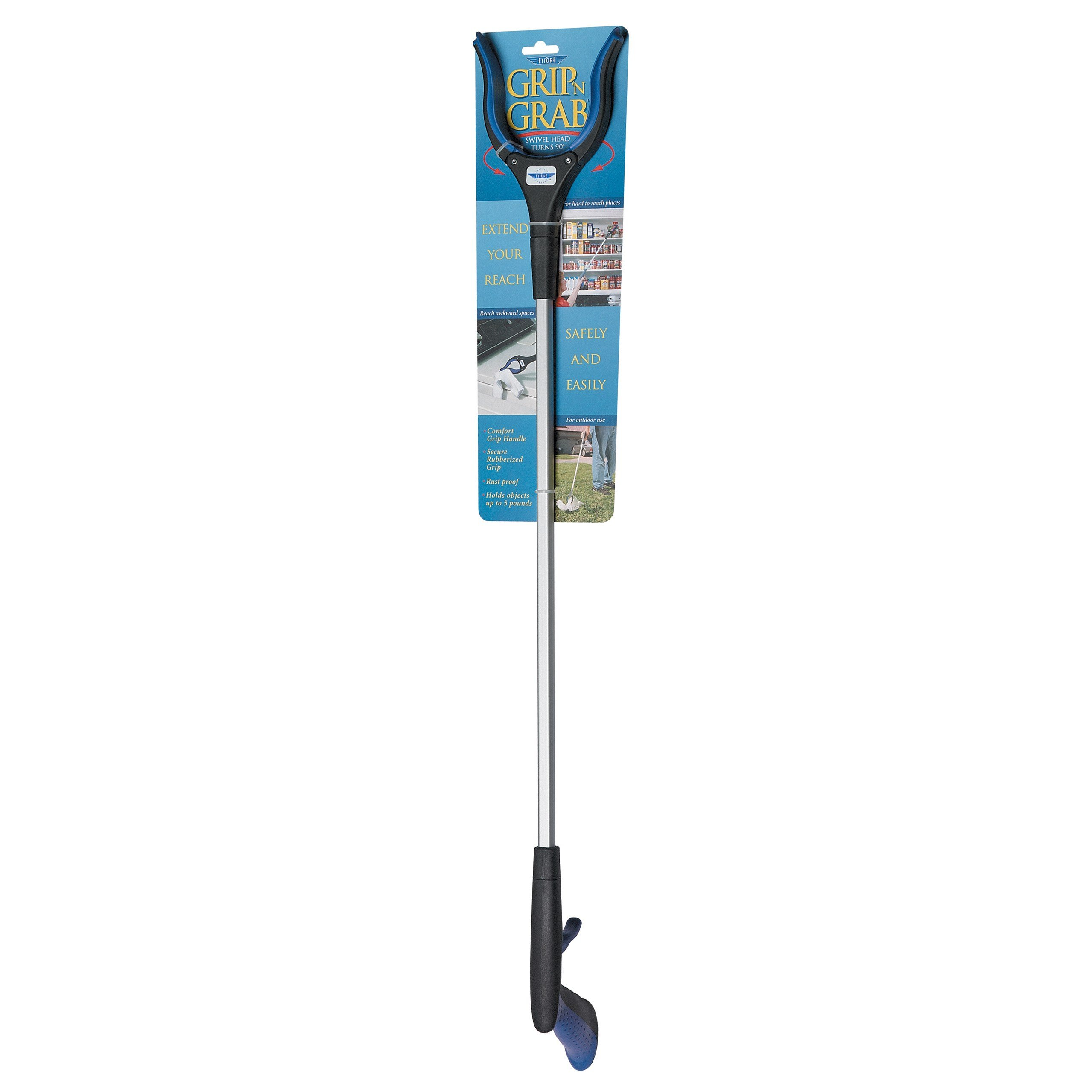 36'' Nifty Nabber with Claw, Ergonomic Comfortable Rubberized Handle, Lightweight Aluminum Long Extender, Heavy Duty Grip Reaching Tool for Trash Pickup, Lightbulb Remover, Garden Nabber, Grabber Tool