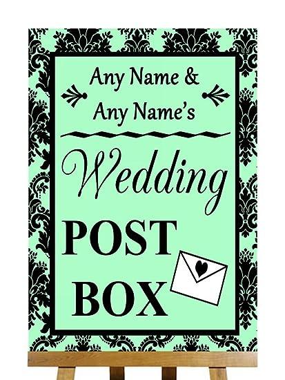 Verde menta damasco negro buzón de correos con texto en ...