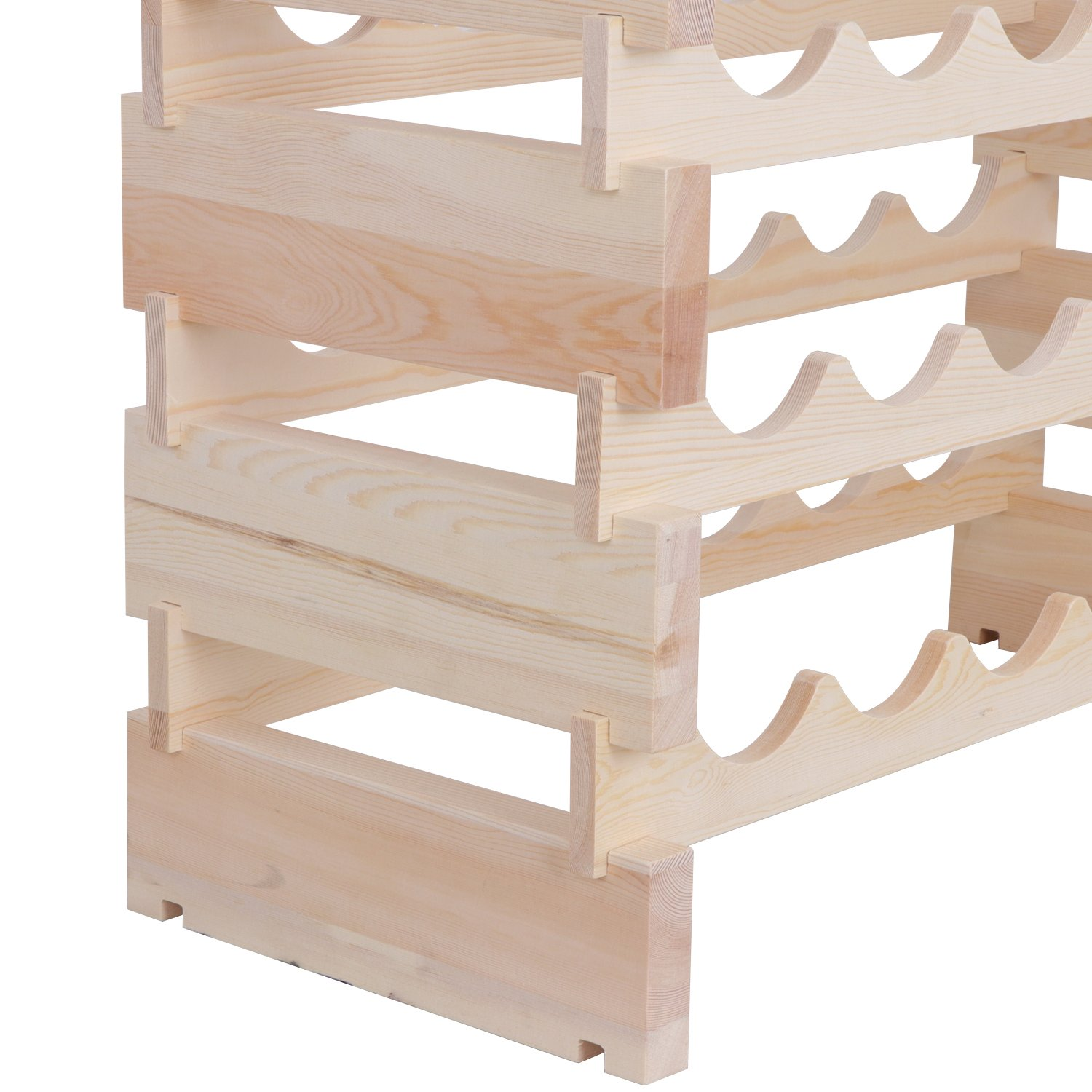 Smartxchoices 36 Bottle Stackable Modular Wine Rack Small Wine Storage Rack Free Standing Solid Natural Wood Wine Holder Display Shelves, Wobble-Free (Six-Tier, 36 Bottle Capacity) by Smartxchoices (Image #4)