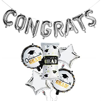 amazon com silver graduation balloons kit congrats balloon banner