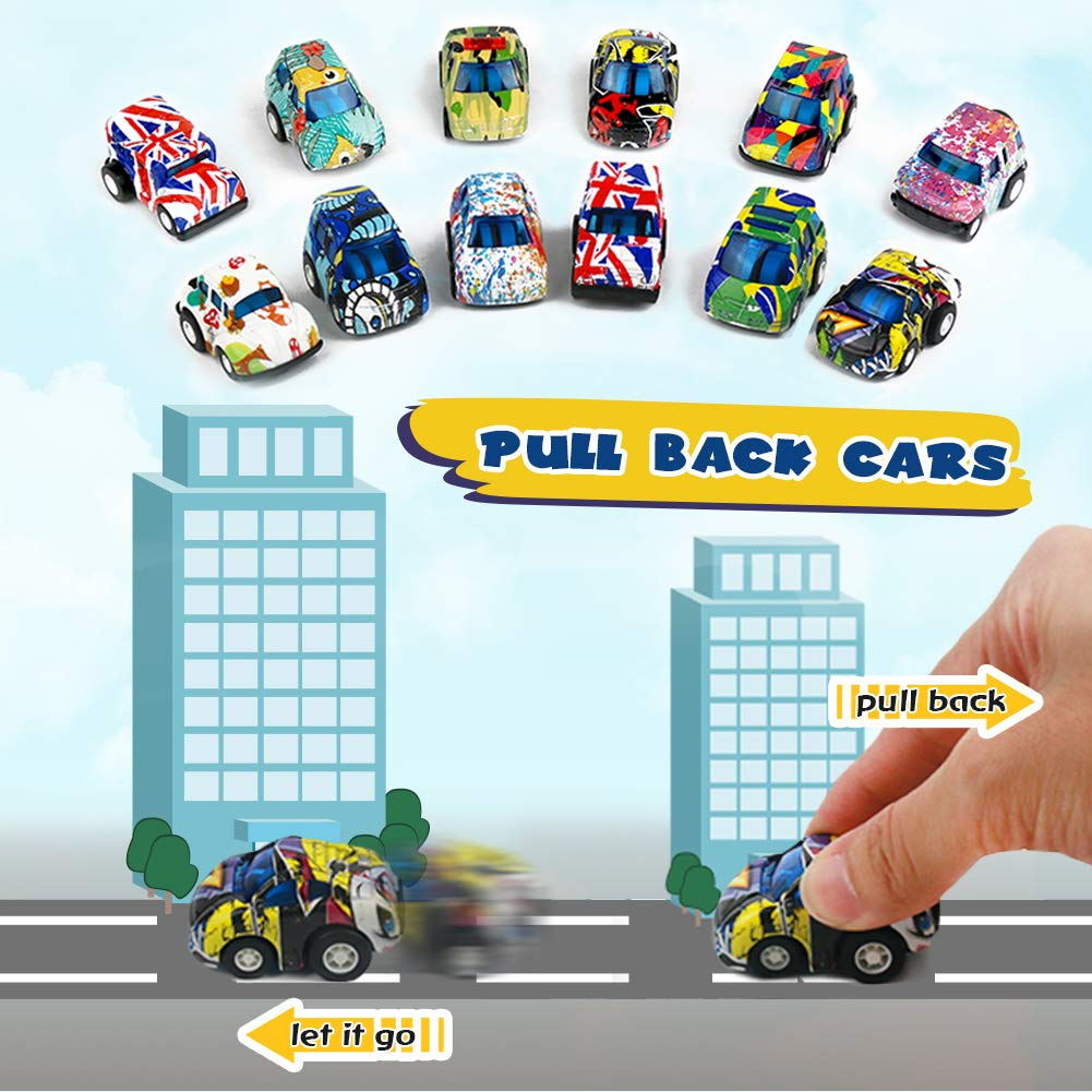 Pull Back Vehicles Diecast Metal Toy Cars Police Car Mini Vehicles Model Kit Party Favors Cake Decorations Topper Best Birthday Gift for Children Toddlers Kids 3 4 5 Years Old, 12 Pieces