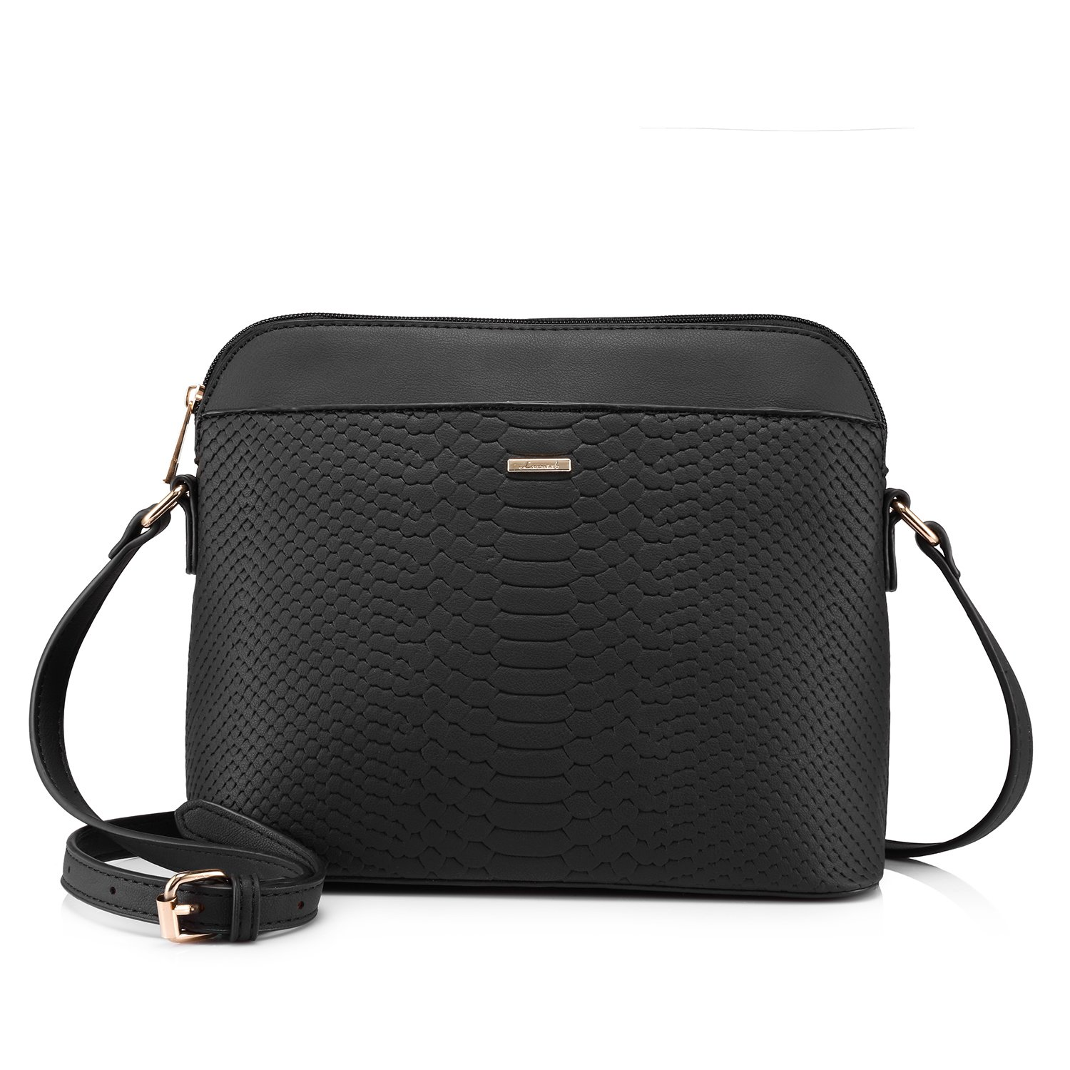 Stylish Crossbody Bags Purses Shoulder Bag for Women in Contrast Design (Black)