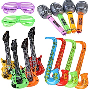 Yojoloin 14 UNIDS Inflables Guitarra Saxofón Micrófono Gafas ...