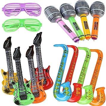 Yojoloin 14 UNIDS Inflables Guitarra Saxofón Micrófono Gafas Globos Instrumentos Musicales Accesorios para Fiesta Suministros Favores
