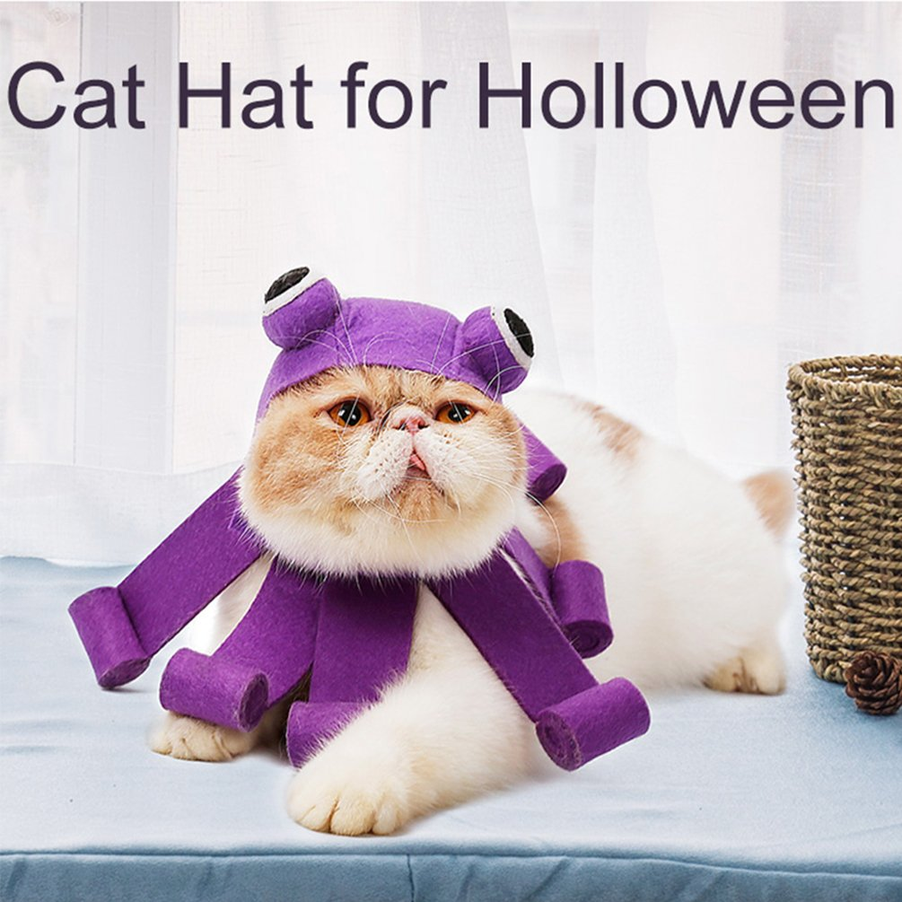 Amazon.com : Petacc Pet Halloween Hat Adjustable Cat Party Costume Adorable Pet Cosplay Headwear Lightweight Cat Costume Hat with Octopus Shape for ...