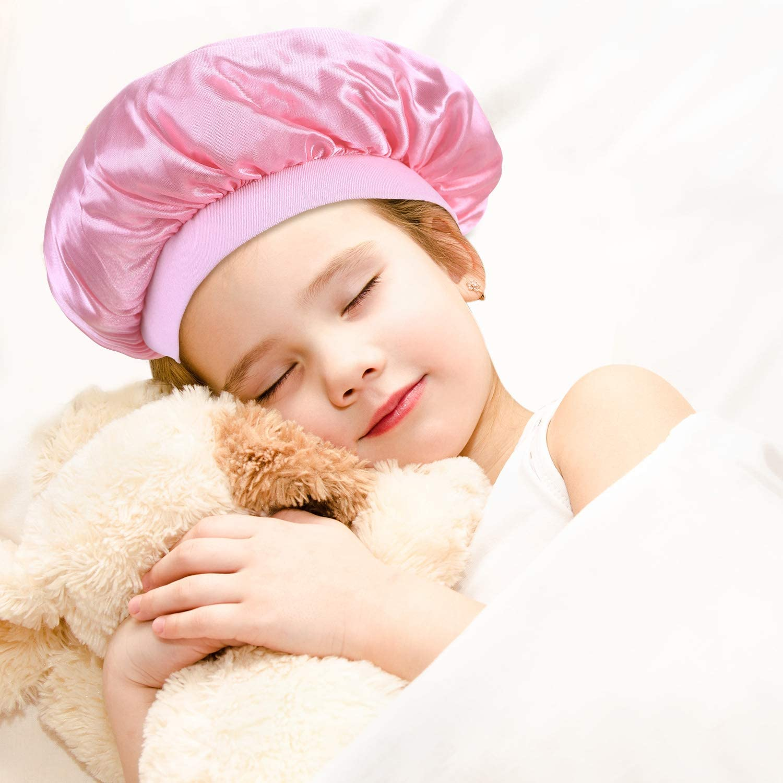 Pink, Dark Purple, Black 3 Pieces Kids Satin Bonnets Night Sleep Caps Wide Band Sleeping Hats for Kids Toddler Children Baby