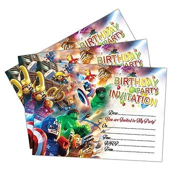 Invitations 20 X Lego Marvel Super Heroes Birthday Party Invites Cards