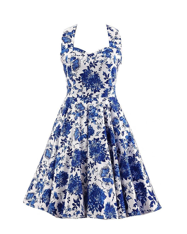 SaiDeng Damen 1950s Hepburn Stil Halfter Jahrgang Swing Kleider