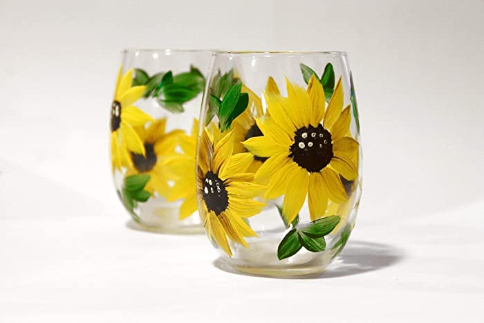 Amazoncom Hand Painted Sunflower Floral Wine Glass Gift Set Of 2