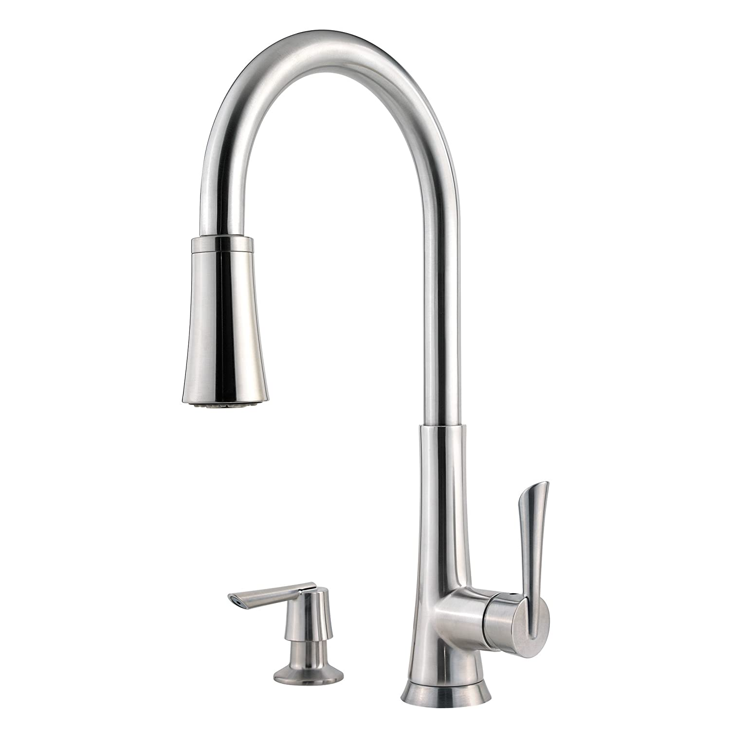 Pfister mystique 1 handle 1 2 3 or 4 hole pull down kitchen faucet w soap dispenser in stainless steel touch on kitchen sink faucets amazon com