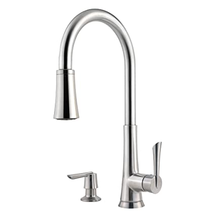 Pfister Mystique 1 Handle 1 2 3 Or 4 Hole Pull Down Kitchen Faucet W Soap Dispenser In Stainless Steel