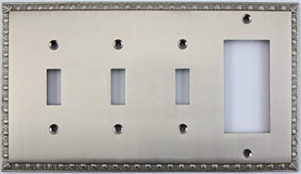 4 switch wall plate egg dart satin nickel gang combo wall plate toggle light switches