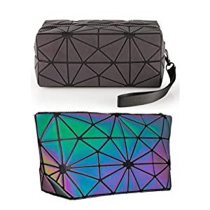 Laser Makeup Bags WORLDS FIRST Light Reflective Material - GLOWS IN THE DARK - Travel Cosmetic Pouch Purse Glow Toiletry Organiser (Medium)