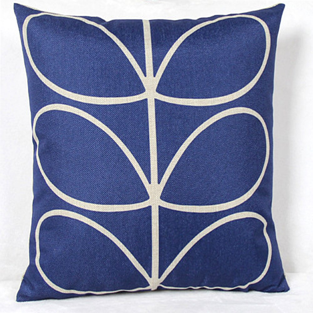 Vanki leaf series Cotton Linen Square Decorative Throw Pillow Case Cushion Cover 18 x 18 inches , dark brown based white stem pattern