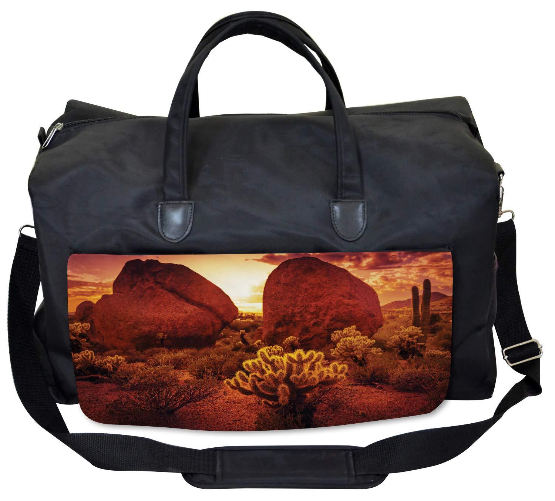 Amazon.com | Ambesonne Red Gym Bag, Cactus Rocks Desert ...