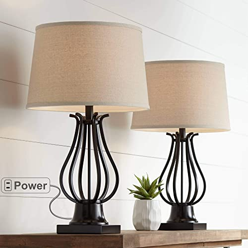 Hadley Modern Table Lamps Set of 2 with AC Power Outlet in Base Bronze Fabric Tapered Drum Shade for Living Room Bedroom Bedside Nightstand Office Family – Regency Hill