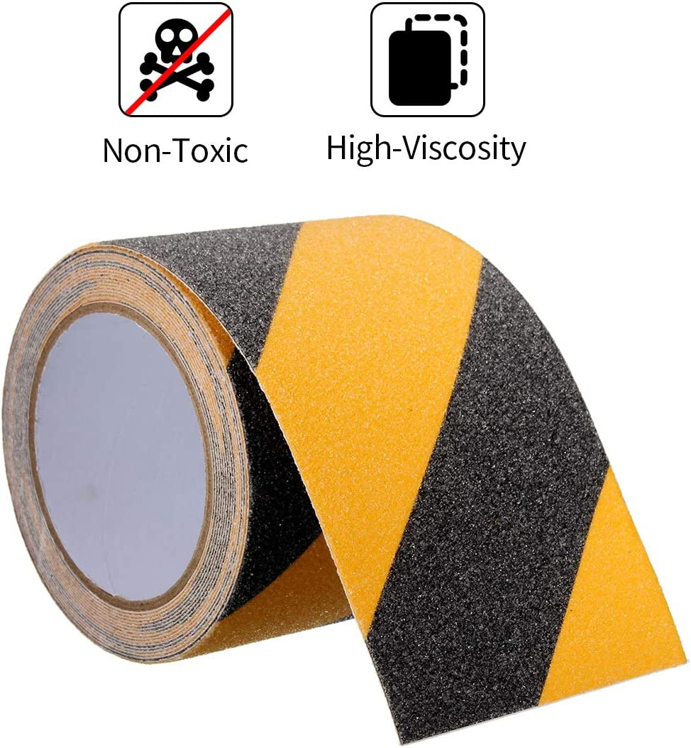 und Au/ßenbereich Gelb//Schwarz 19 mm breit Selbstklebende Streifen in Top-Qualit/ät f/ür/rutschfeste Treppenstufen im Innen Adsamm 6m Anti-Rutsch-Streifen