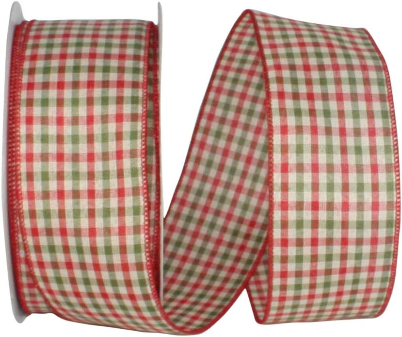 """10 Yards Christmas Red Green Country Primitive Gingham Plaid Wired Ribbon 1 1//2/"""""""