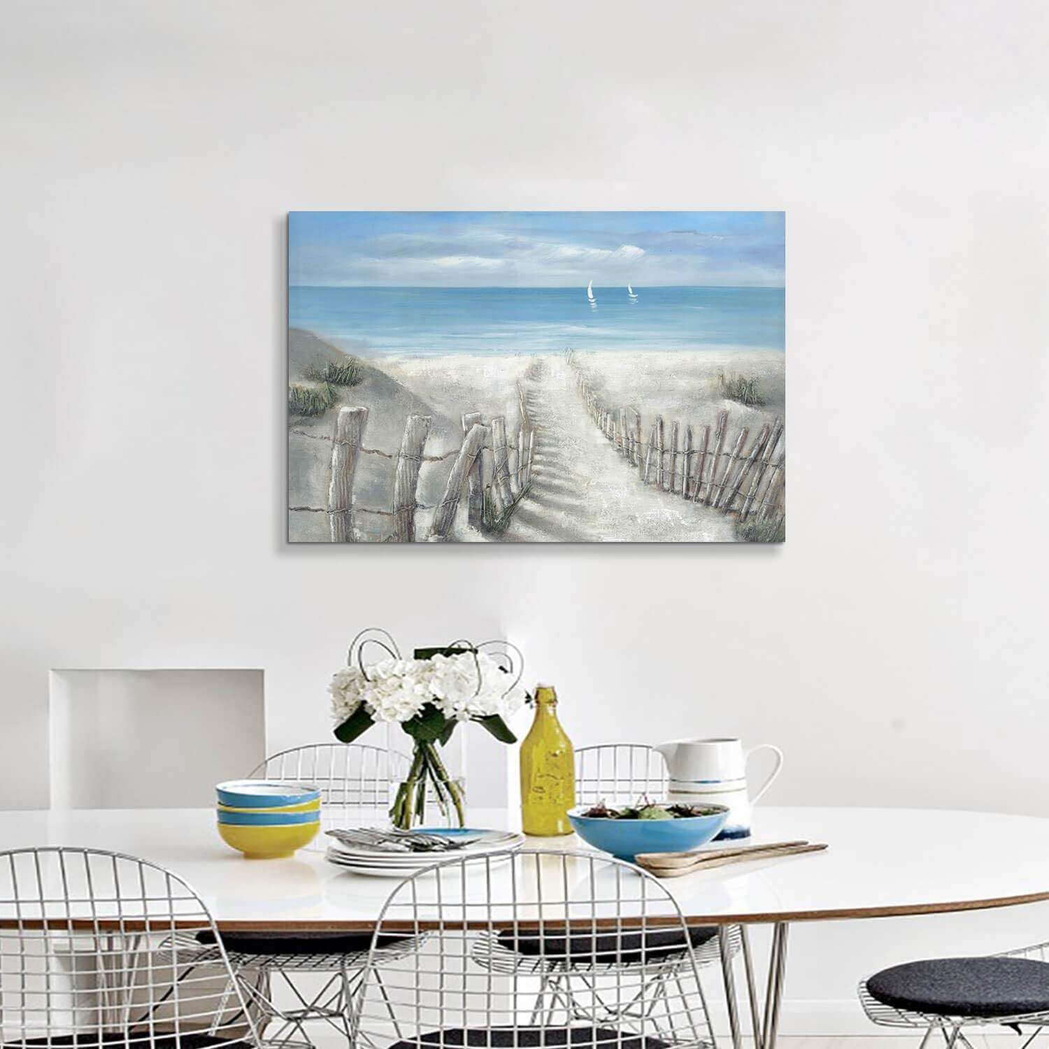"""Rustic Wooden Fence Path to Ocean Painting on Canvas Wall Art for Bedroom Abstract Beach Artwork Coastal Picture 36/"""" x 24/"""" x 1 Panel"""