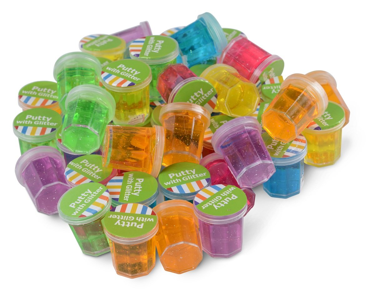 Kidsco Mini Putty with Glitter - 48 Pack Assorted Colors - Container 1 1/4'' Inch - for Kids Boys and Girls, Party Favor, Fun, Toy, Novelty, Gift, Prize.