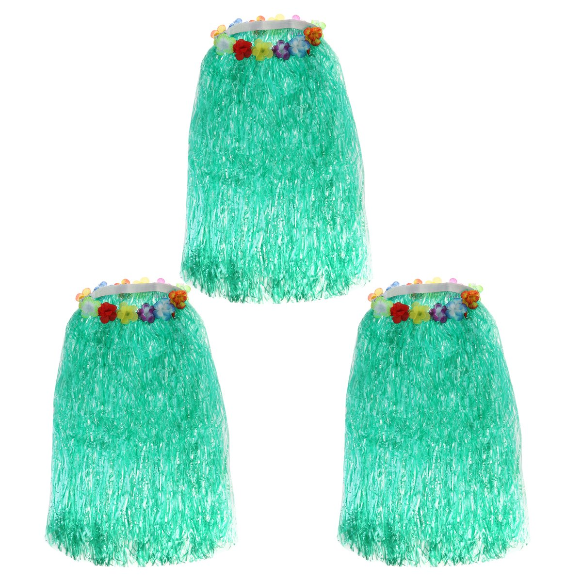 Tinksky 3pcs Hawaiian Grass Dance Skirt for Beach Luau Party Decoration, gift for women Adults 80cm (Green)