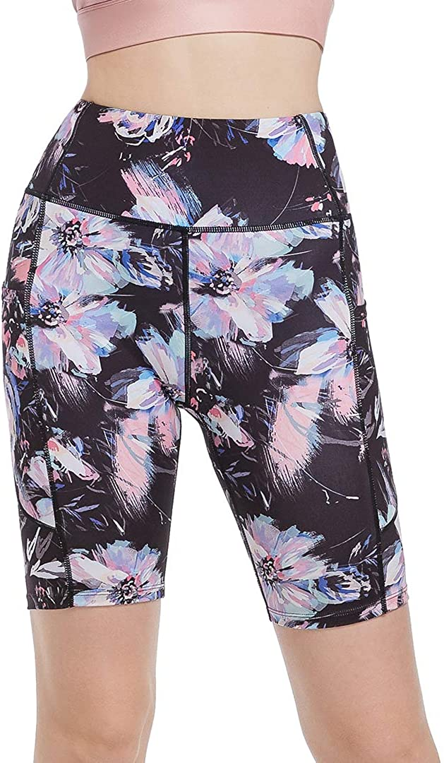 SPRING SEAON Yoga Shorts for Women with Pockets 8 High Waist Biker Shorts Workout Prints /& Solid Color Athletic Shorts