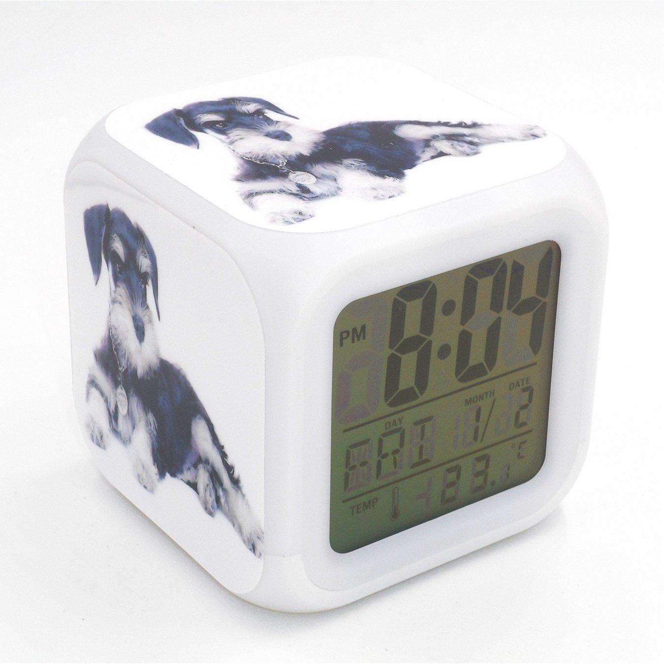 Boyan Led Alarm Clock Schnauzer Dog Animal Design Creative Desk Table Clock Glowing Electric Led Digital Alarm Clock Kids Toy Gift
