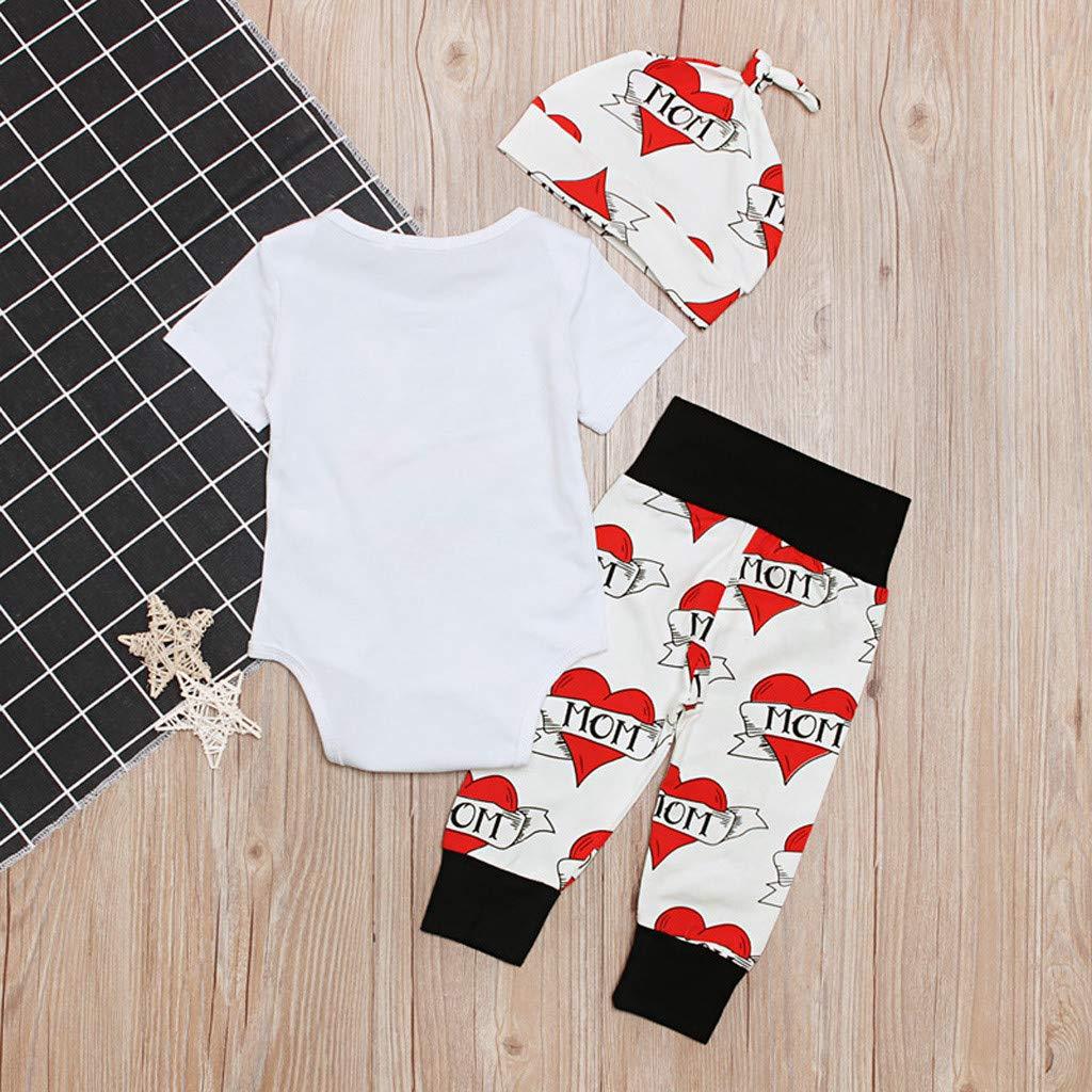 Carino Bianco Bodysuit Abitini Bambini Body Neonato Vestiti Fotografica 100 San Valentino Maglietta Bambini Bodysuit Set Lettera Cuore Stampa T Shirt Manica Lunga Top+Pantaloni+Cappello