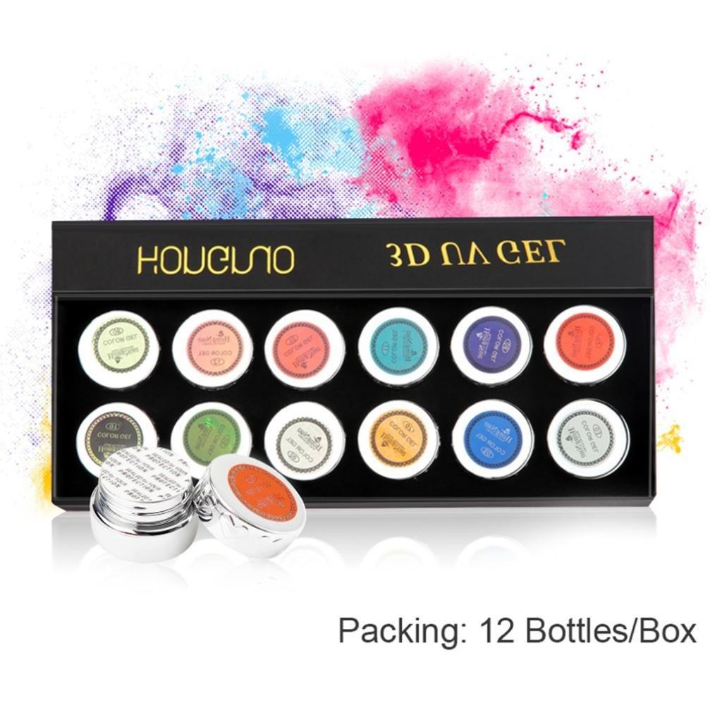 KingWo 12 color/Set Coloured Nail Art Tips Creative Manicure Decoration 3D UV Sculpture Gel by KingWo