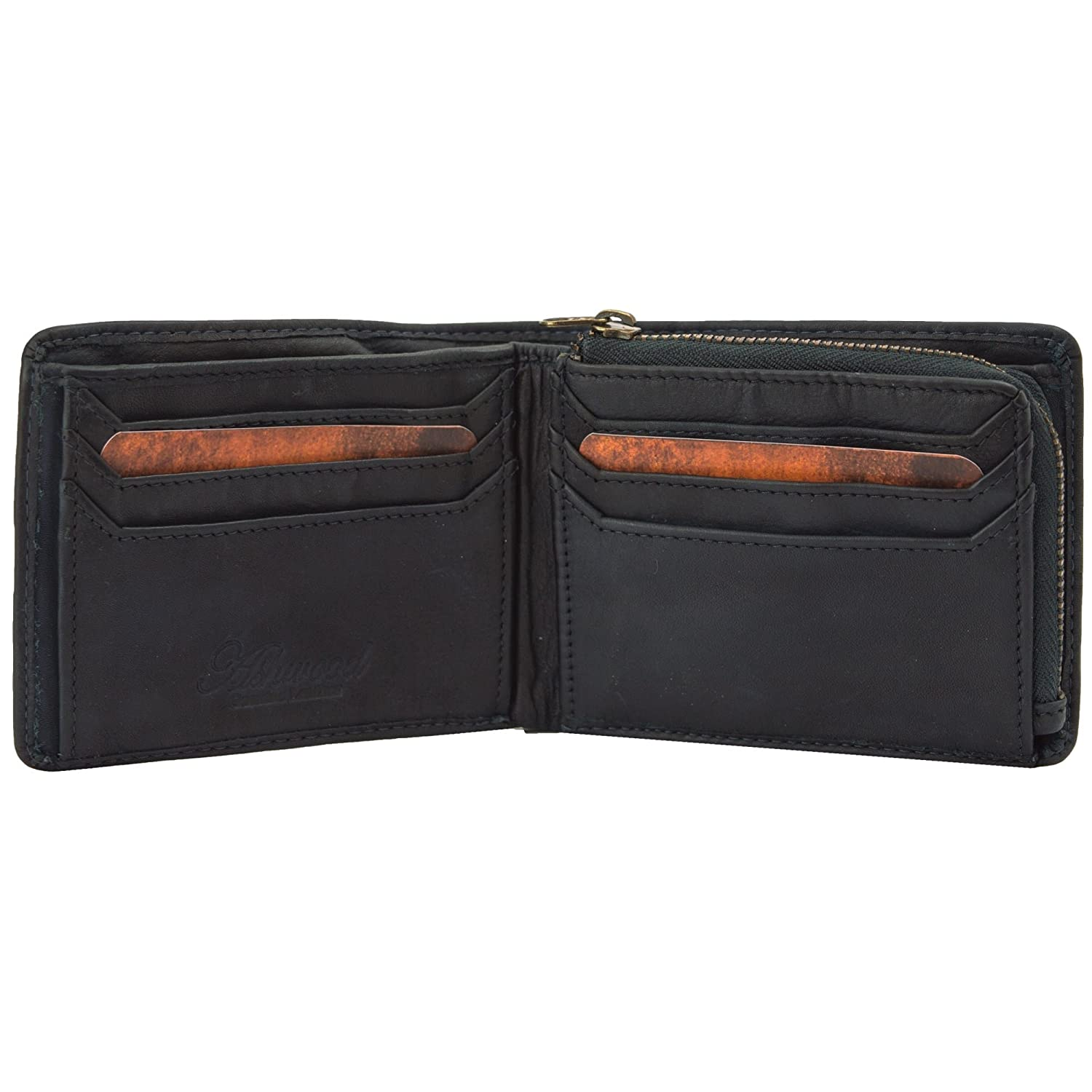 Ashwood Spitalfields 6 Card Bill Fold Mens Leather Wallet Tan /& Navy