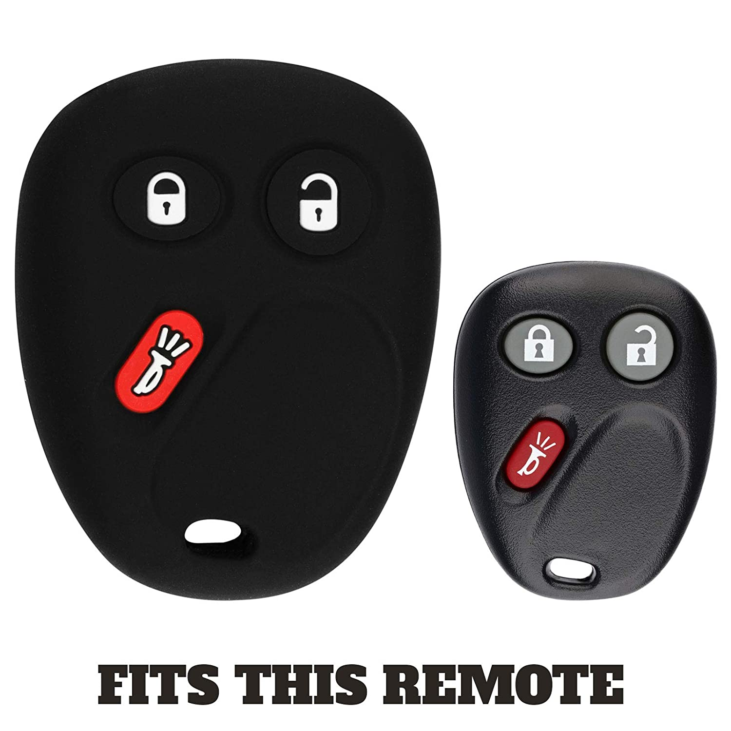 KeylessOption 15008008 Pack of 2 15008009 KeyGuardz Keyless Entry Remote Car Key Fob Outer Shell Cover Rubber Case for LHJ011