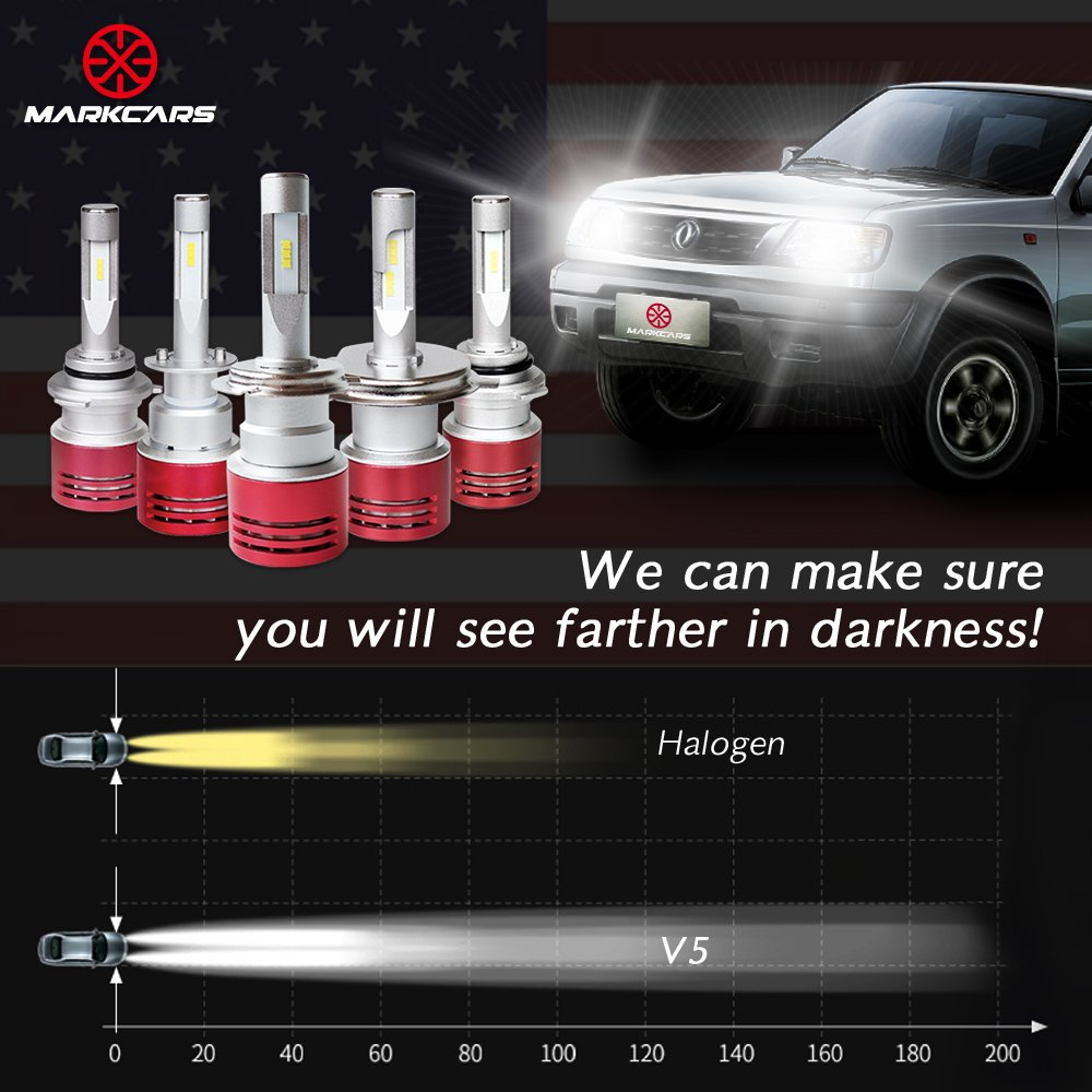 Markcars LED Car Headlight Bulbs H11 60W 8400LM with Seoul Chip Turbo Heat Dissipation Auto Headlamp Cool White All-in-One plug and play Conversion kit