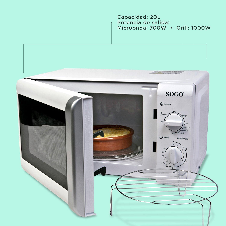 Sogo: SS-845 Microondas con Grill, 20L, 700W, 1000W de Grill, 5 niveles de Potencia, control manual, Plato giratorio de 25,5cm, Color: Blanco
