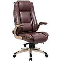 Kadirya High Back Bonded Leather Executive Office Chair (Brown)