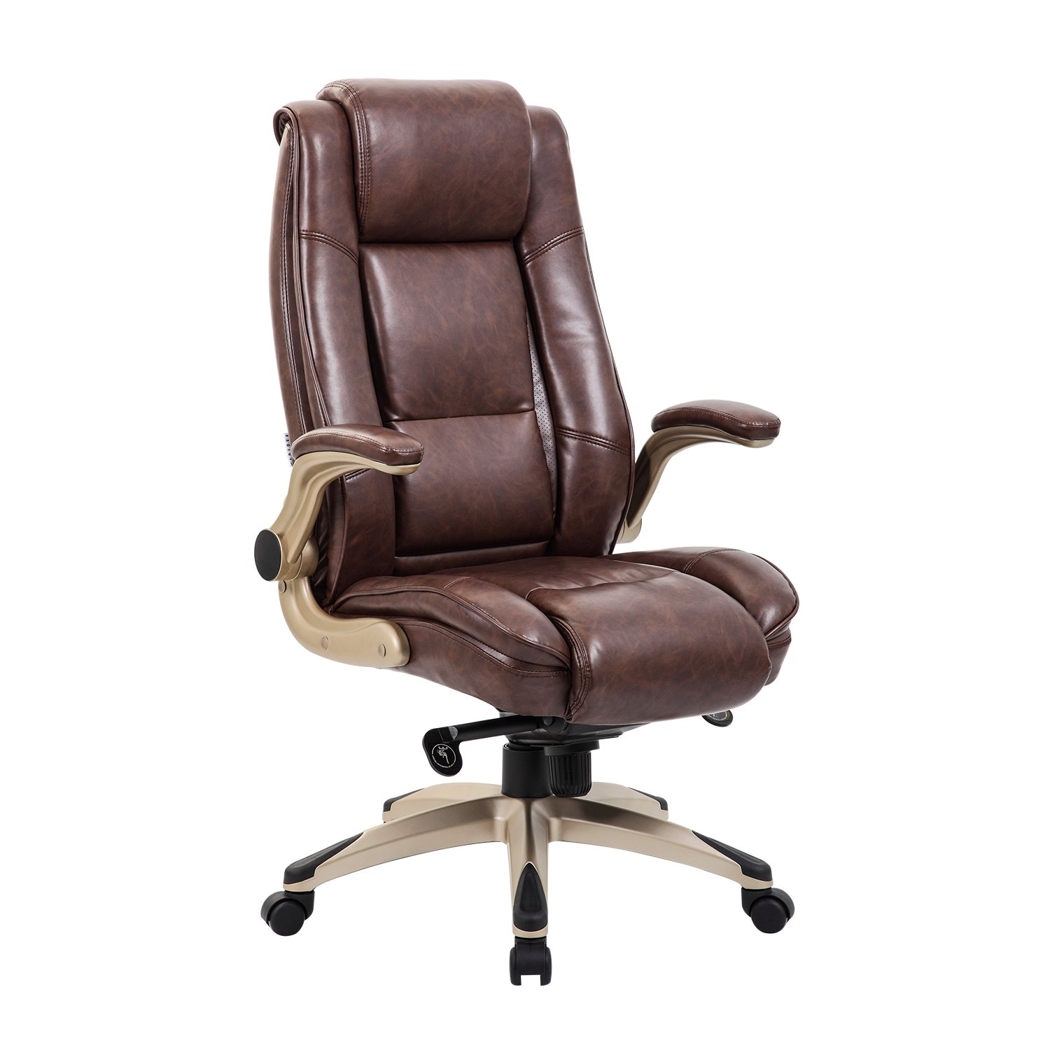 Kadirya High Back Bonded Leather Executive Office Chair Adjustable Recline Locking Mechanism Flip Up Arms Computer Desk Chair Thick Padding And