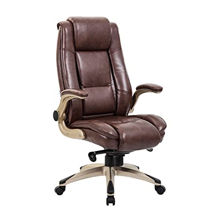 Review KADIRYA High Back Bonded Leather Executive Office Chair - Adjustable Recline Locking Mechanism,Flip-up Arms Computer Desk Chair,Thick Padding and Ergonomic Design for Lumbar Support (Brown)