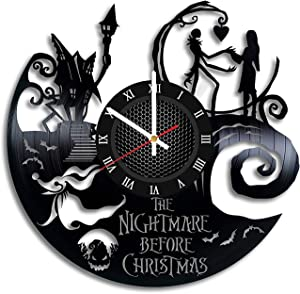 The Nightmare Before Christmas Vinyl Clock - Jack Skellington Halloween Town Vinyl Records Wall Art Room Decor Handmade Decoration Party Supplies Original Gift- Vintage Modern Style (Roman Numerals)