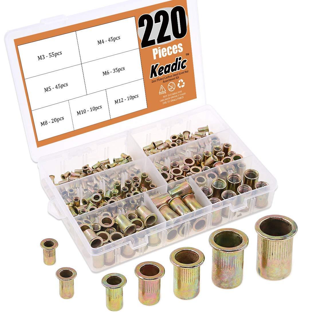Keadic 220Pcs Metric Zinc Plated Carbon Steel Rivet Nut Flat Head Threaded Insert Nutsert Assortment Kit - 7 sizes:M3 M4 M5 M6 M8 M10 M12 by Keadic
