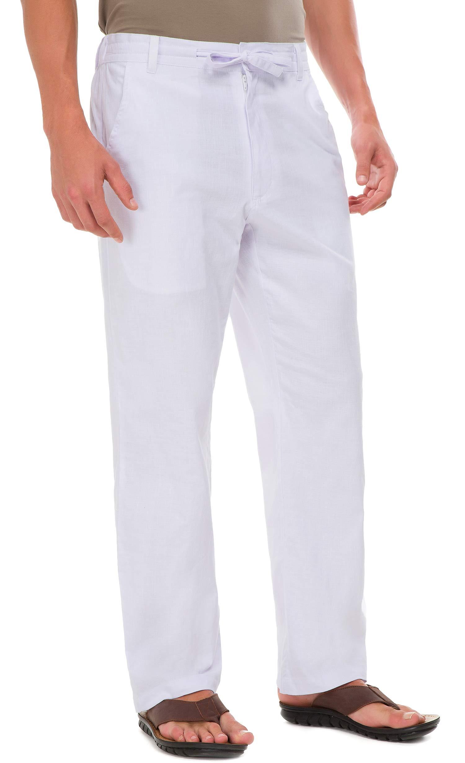Janmid Men Casual Beach Trousers Linen Summer Pants White 2XL