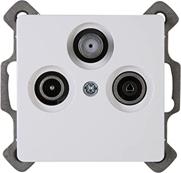 Kopp 921402082 PARIS - Toma de antena con 3 salidas (TV, RF, SAT), color blanco y gris