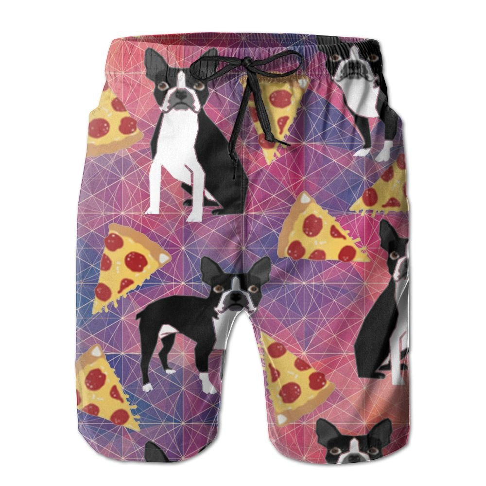 COOA Geometric Boston Terrier Dog Love Pizza Mens Quick Dry Beach Board Shorts Swim Trunk
