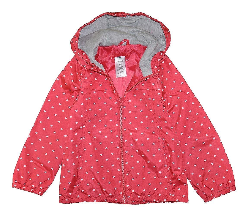Carters Girls Poppy Red Heart Print Windbreaker Jacket