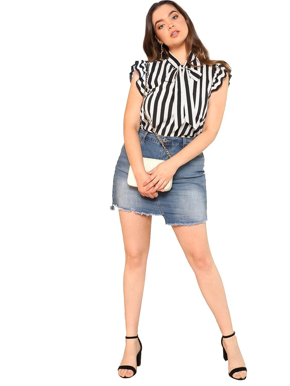 b8dedc0d9d4e54 Amazon.com: Floerns Women's Summer Plus Size Bow Tie Striped Chiffon Blouse  Top: Clothing