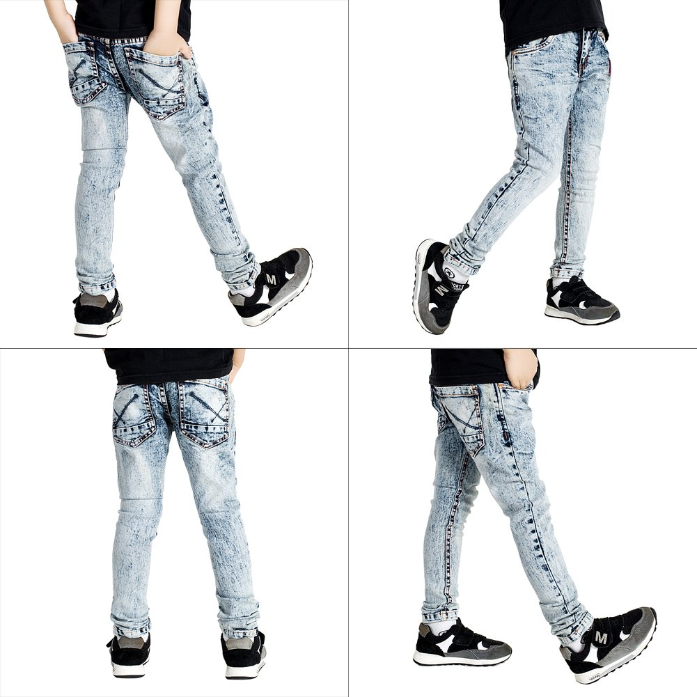 Boys Jeans Denim Skinny Trousers Slim Fit Streched Pants size 170cm