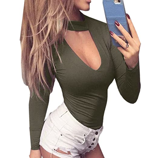 0b73ee7e3266 Moxeay Women s Sexy Choker V-neck Long Sleeve Jumpsuit Evening Party Leotard  (Small
