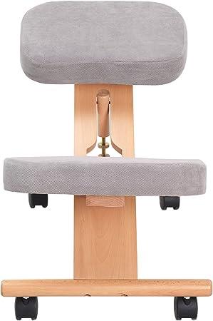 Gris Costway Ergonomique Chaise /à Genoux en Bois orthop/édique Tabouret Posture Cadre de Soins de sant/é 46X59X62CM LxDxH