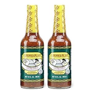 The Pepper Plant Garlic Hot Pepper Sauce 10 Oz (Pack of 2)