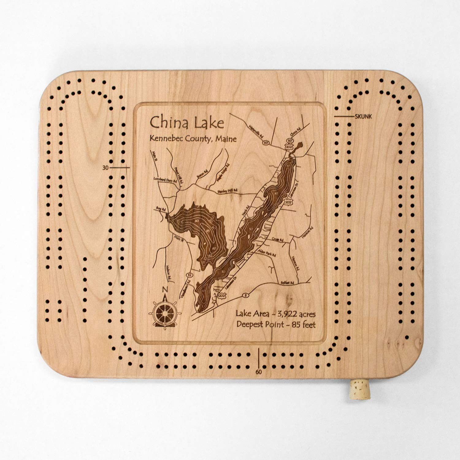 China Lake Maine Map.Amazon Com Lake Erie Great Lakes Gl Cribbage Board 9 X 12 In